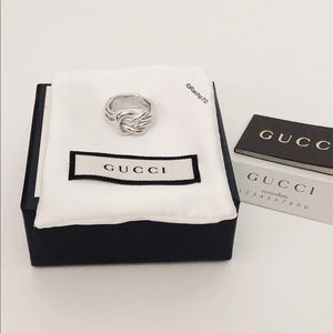 New Authentic Gucci Grande Silver Knot Ring Size 7